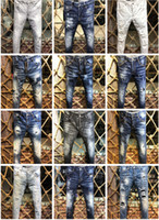 calça homem marca venda por atacado-Dsquared2 2019 D2 Chegada Nova Marca de Qualidade Superior Designer de Homens Denim Jeans Bordados Calças Moda Buracos Calças Itália Tamanho 44-54