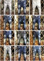 kot pantolon toptan satış-Dsquared2 2019 D2 Yeni Varış En Kaliteli Marka Tasarımcısı Erkekler Denim Jeans Nakış Pantolon Moda Delik Pantolon İtalya Boyutu 44-54