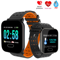 Wholesale android phone color red online – A6 Fitness Tracker Wristband Smart Watch Color Touch Screen Water Resistant Smartwatch Phone with Heart Rate Monitor pk id115
