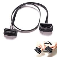 connecteur plat achat en gros de-Mince plat comme nouille OBDII 2FT OBD2 16Pin ELM327 mâle à l'adaptateur de connecteur de câble de diagnostic de voiture d'extension de coude femelle OBD 2 auto