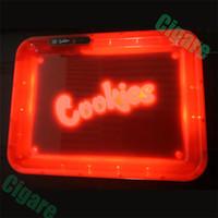 cigarrillo vape rx al por mayor-Opción balanceo Bandeja resplandor de luz LED galletas versión limitada en seco de la hierba de la especia Accesorios Azul Rojo