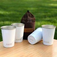 set de camping de acero inoxidable al por mayor-4pcs / set de acero inoxidable 304 camping Copa Barbacoa taza de cerveza escalada al aire libre Milk Tea Coffee Cup