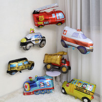 araba ambulansı toptan satış-1 adet Büyük Tankı Ambulans Yangın Kamyon Araba Folyo Balonlar Doğum Günü Tema Parti Süslemeleri Çocuklar Helyum Okul Otobüsü Balon Vehicel Arabalar