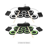 Wholesale professional drum kits for sale - Group buy Professional Electronic Roll Up Drum Set Kit Silicon Drum Pads USB Powered with Drumsticks Foot Pedals mm Audio Cable