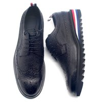 sapatos derbies venda por atacado-2020 Mens formais couro do couro genuíno sapatos antiderrapante Plataforma Lace Up Derby sapatos da ponta de asa Brogue noivo do vestido de casamento Shoes