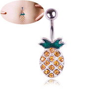 Wholesale body jewelry for sale - Group buy Cute Fruit Pineapple Zircon Crystal Body Jewelry Stainless Steel Rhinestone Navel Bell Button Piercing Rings for Women Gift