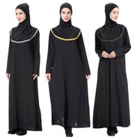 neue schwarze dubai abaya großhandel-New Hijab Schal Abendkleider Bangladesch Kaftan Dubai Pakistan Kaftan muslimischen schwarzen Kleid Frauen Djellaba islamische Kleidung