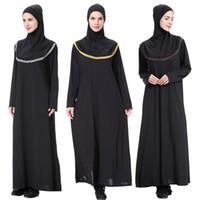 noche negra abaya al por mayor-Nuevos vestidos de noche de bufanda hijab bangladesh kaftan dubai abaya pakistan caftan musulmán vestido negro mujeres djellaba ropa islámica