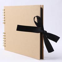 diy albüm kitabı toptan satış-Toptan Çocuk büyüme fotoğraf albümü sıcak satış yay ipek kurdele el yapımı düğün yıldönümü bellek DIY kitap