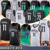 jerseys estoque de basquete venda por atacado-7 Kevin Durant Jersey University 11 Kyrie Irving 72 Black Biggie NCAA 2020 New College Basketball Jerseys Brooklyn Nets Em Estoque S-XXL