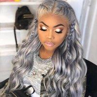 передние кружевные бразильские волосы парики оптовых-Серебристо-серый Glueless парики из натуральных волос с детскими волосами предварительно выщипанные 130% плотность бразильские волосы девственницы перед парики