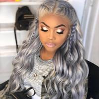 ingrosso parrucche di pizzo grigio argento-Parrucche per capelli umani in pizzo pieno glueless grigio argento con parrucche per capelli Parrucche pre brasate con pelo vergine brasiliano 130% densità