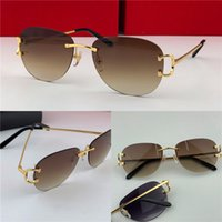 beste außenleuchten großhandel-Bestseller Großhandel Outdoor-Mode Sonnenbrillen 1234 rahmenlose runde Rahmen Retro-Avantgarde-Design UV400 Lichtfarbe dekorative Brillen