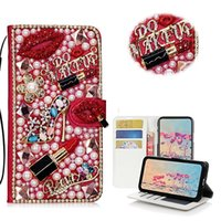 saltos de batom venda por atacado-Diamante beijo batom flor de salto alto bolsa case para iphone 11 pro max xs max xr x 8 7 plus samsung galaxy note 10 9 8 s10 / 9/8 plus s10e