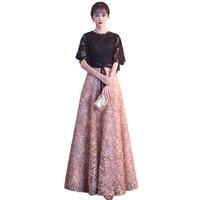 китайский пол оптовых-Chinese Oriental Dresses Elegant Khaki Black Lace Evening Dress Simple Floor-length Prom Bride Long Cheongsam Party Formal Gown