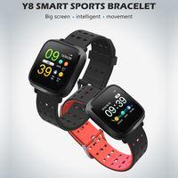 импульсный монитор смотреть умный оптовых-Y8 водонепроницаемый смарт-браслет монитор сердечного ритма пульса артериального давления спортивный смарт-браслет для iphone Android phone Smart Watch