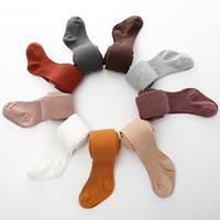 Wholesale kids winter socks resale online - Kids Winter Dress Socks Knitted Leggings Solid Color Baby Soft Casual Pantyhose Pants Baby Girls Boys Leggings Socks Colors HHA723