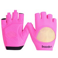 rosa fitnesshandschuhe groihandel-BOODUN Außen Frauen Klettern Gewichtheben Fitness-Handschuhe Yoga Anti-Rutsch-Hantel halber Fingerhandschuh Wandern Pink Schwarz