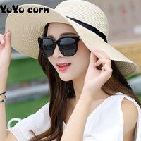 Wholesale foldable big sun hat for sale - Group buy YOYOCORN Summer Straw Hat Women Big Wide Brim Beach Hat Sun Foldable Sun Block UV Protection Panama