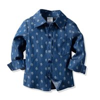 ingrosso camicia di colore blu-Cute Boys Denim Camicie Tees Vintage Blue Color Gentleman Boys Primavera Autunno Top Western Classic Spring Autumn Blouse