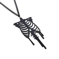 collares de esqueleto al por mayor-Collares góticos Goth Punk Unique Retro Rib Cage Esqueleto anatómico Colgante Collar Joyas Collar de Halloween