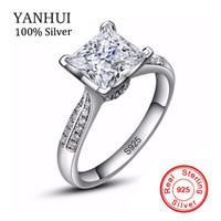 большие циркониевые кольца оптовых-Lose Money Big Sale YANHUI 100% Solid 925 Silver Ring Wedding Jewelry Big 3 CZ Zircon Engagement Rings for Women XR038