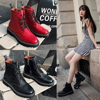 Wholesale leather thickness resale online - Autumn and winter female star same British wind net red leather high thickness bottom plush short Martin boots