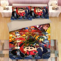 Wholesale beddings resale online - Anime Crayon Shin chan Bedding Set Kids Crayon Shin chan Duvet Cover Pillowcase Cute Animal Full Twin Queen king Size Beddings