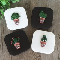 Wholesale cute lens cases for sale - Group buy Cute Fashion Random Cactus Pattern Travel Glasses Contact Lenses Box lens Case contact for Eyes Care Kit Holder Container