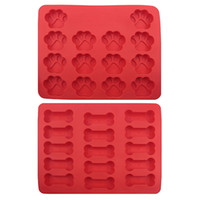 ingrosso cuocere l'osso-100pcs Dog Bone Footprint Cookie Bake Stampo No Stick Siliconce Cake Mold Molding COOKNBAKE Silicone forma per biscotto Candy