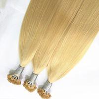 natürliche haarproben großhandel-14-24inch 1g / Strang, 100 Stränge vorgebundene Haarverlängerung mit flacher Spitze 100% Indisches Haar Italienische Keratinkapsel Haarfarbe 613