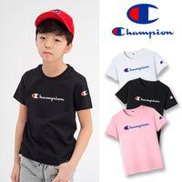 gestickte hemden für mädchen großhandel-Champion Boy kurzärmelige, halbärmelige Cham-Spieße großes C-Hipster-Kids-Logo im Superfeuer besticktes T-Shirt-Mädchen