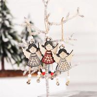 sinos de vento de anjo venda por atacado-Nordic madeira Angel Doll Hanging Decoração de Natal Ornamentos Wind Chime Pendant Xmas Tree Decor Navidad Craft Gift