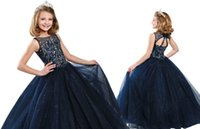 Wholesale navy blue yellow flower girl dresses resale online - Glittering Navy Blue Sequin Tulle Girls Pageant Dresses Jewel Neck Unique Back Designer A line Cheap Flower Girls First Communion Dress