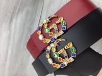 ingrosso cinture di signora-Cintura larga 7.0cm per donna 2019 nuova moda donna cintura in pelle liscia fibbia oro grande cintura madre-figlia
