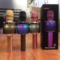 ingrosso microfoni karaoke per cella-N15 Altoparlante microfono wireless Bluetooth Luci al neon colorate Cell Phone Karaoke Microfono Live Canta Microfoni di moda universali