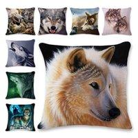 housses de coussin de loup achat en gros de-Cool Animal Wolf 3D Imprimé Taie d'oreiller Coton Et Lin Warmer Doux Housse de Coussin Carrée Nouvelle Arrivée 6ls E1