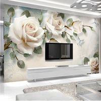 ingrosso pittura decorativa della stanza-Carta da parati moderna su ordinazione 3D della foto Pittura murale Fiori bianchi della rosa per il salone Camera da letto TV fondo Carta decorativa domestica della carta