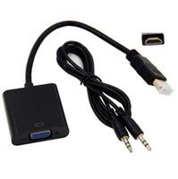 xbox hdmi vga kabel großhandel-Heißes neues HDMI zum VGA-Datenkabel mit Audiokabel-Videokonverter-Adapter für Xbox 360 PS3 PC360 DHL