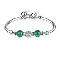 ethnische silberne schmucksachen großhandel-Armband Armreif Frauen Böhmische Ethnische Schmuck Farbe Silber Armbänder Grüne Steine Frauen Luxus Schmuck Großhandel Charme Armband