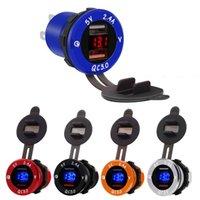 mikro-staubabdeckungen großhandel-Dual USB QC 3.0 Schnellladegerät 3.4A Steckdose Adapter LED Display Staubschutz Voltmeter Wasserdicht für Auto Motorrad Boot