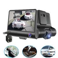 çift araba çizgi kameraları toptan satış-Orijinal 4 '' Araba DVR Kamera Video Kaydedici Arka Görünüm Otomatik Registrator ith Iki Kameralar Dash kamera DVRS Çift Lens