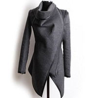 Wholesale woolen long coat for ladies for sale - Group buy Fashion Clothes for Women New European and American Wool Blends Coats Ladies Trim Personality Asymmetric Rules Short Jacket Coats