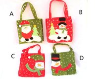 Wholesale new year bag packaging resale online - 16 cm New Year Xmas Gifts Santa Claus Snowman Candy Bags Hangable Pouch Handbag Merry Christmas Storage Package Container Organizer