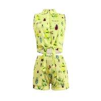 zweiteilige crop top kurze sets groihandel-Frauen Sommer Set Sexy Insekt Print gelbe Fliege 2 Stück Set Crop Top und Shorts zweiteilige Mode Frauen Kleidung