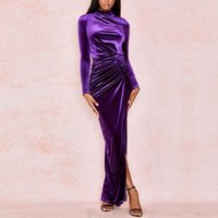Wholesale party violet dresses resale online - Seamyla Sexy Violet Long Sleeve Draped Maxi Long Dress High Slit Winter Runway Elegant Evening Club Party Dresses Vestidos