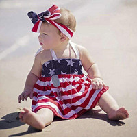Wholesale baby clothing outfits for sale - Forth of July Baby girl clothes Halter Top PP shorts National Independence Day Outfit Special Occasions clothes Flag DHL