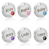Wholesale dog collars paws for sale - Group buy 30pcs Pet Dog Cat ID Tags Blank Stainless Steel Round Paw Name Tag Dog Collar Accessories Pendant For Dogs Cats Anti lost