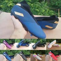 botas de vermelho azul branco venda por atacado-2020 chegam novas Shoes Mens Futebol Messi Nemeziz 19,3 laceless FG ás 19 + x Deslizamento-na baixa 360 Football alta Tornozelo Azul Vermelho Branco Botas Grampos
