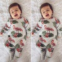 crianças do bebê uma peça de roupa romper venda por atacado-Ins Baby Flamingo Impresso Macacões de Algodão de Manga Longa Do Bebê One-pieces Recém-nascidos Infantis Romper Outono Inverno Crianças Meninos Meninas Roupas C82605